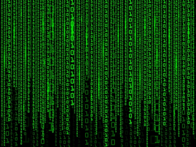 緑色のマトリックスのデジタル背景。バイナリコンピュータコード