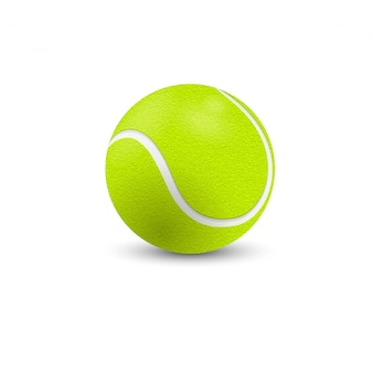 Теннисный мяч крупным планом на белом