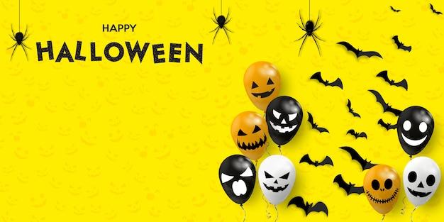 Счастливого хэллоуина баннер. страшные воздушные шарики с пауками и летучими мышами.
