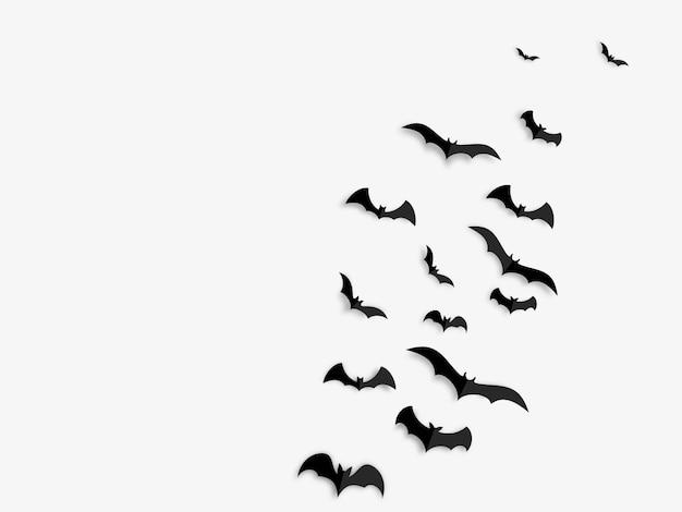 Счастливый хэллоуин концепция черные бумажные летучие мыши