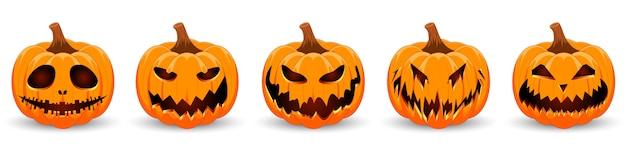 白い背景にカボチャを設定します。休日のハロウィーンのデザインの笑顔とオレンジ色のカボチャ。