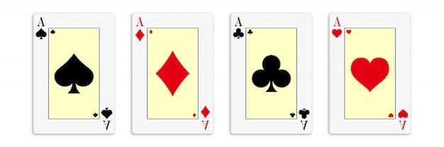 Классические четыре туза на белом фоне.