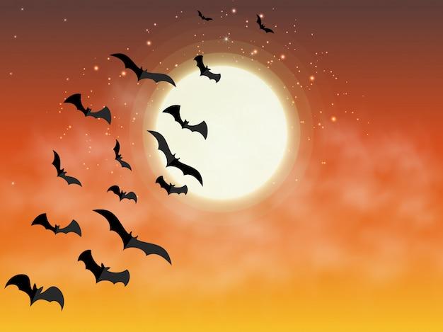 ハッピーハロウィン。オレンジ色の満月の背景に飛んでいるコウモリ。