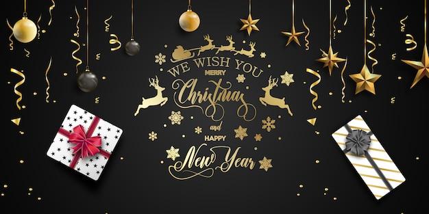 メリークリスマスと幸せな新年の背景。