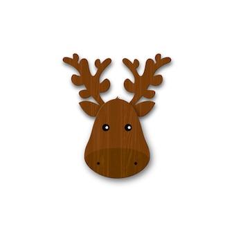 漫画の木製鹿の頭