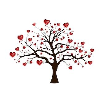 幸せなバレンタインデー。赤いハートとビーズで飾られたツリー。バレンタインカード。