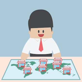 ビジネスマンは彼のビジネスを拡大したい、フランチャイズコンセプト