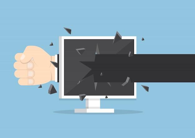 Рука бизнесмена бросает удар через экран монитора