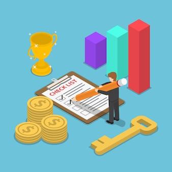 Изометрические бизнесмен, проверка отметки на контрольный список