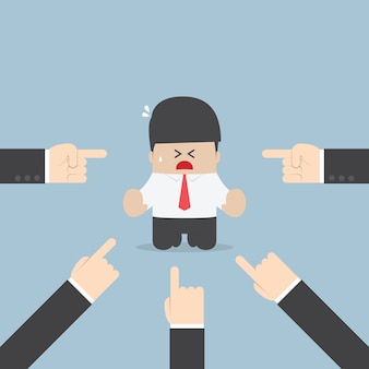 ビジネスマンは、多くの手で指摘されている