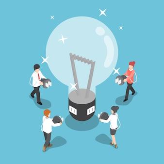 大きな電球からアイデアを充電するつもりの等尺性ビジネス人々