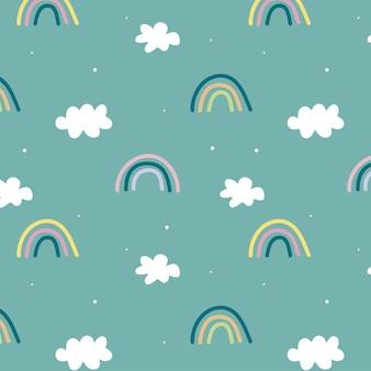 Симпатичный узор с радугой и облаками