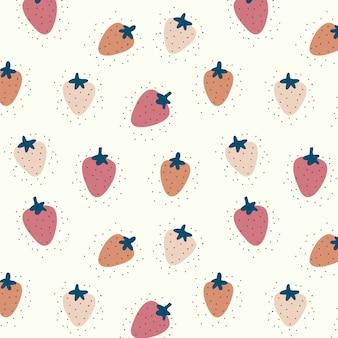ピンクのイチゴとシームレスなパターンベクトル