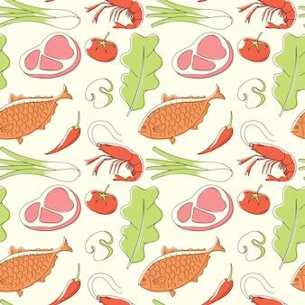 食品のシームレスなパターン、ベクトル