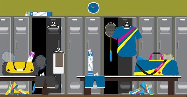 バドミントンスポーツフィットネスクラブドレッシングルームとマウンテンビュー。