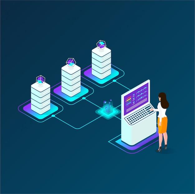 暗号通貨とブロックチェーンのアイソメトリック合成、暗号の開発に携わるアナリストとマネージャ、データアナリスト
