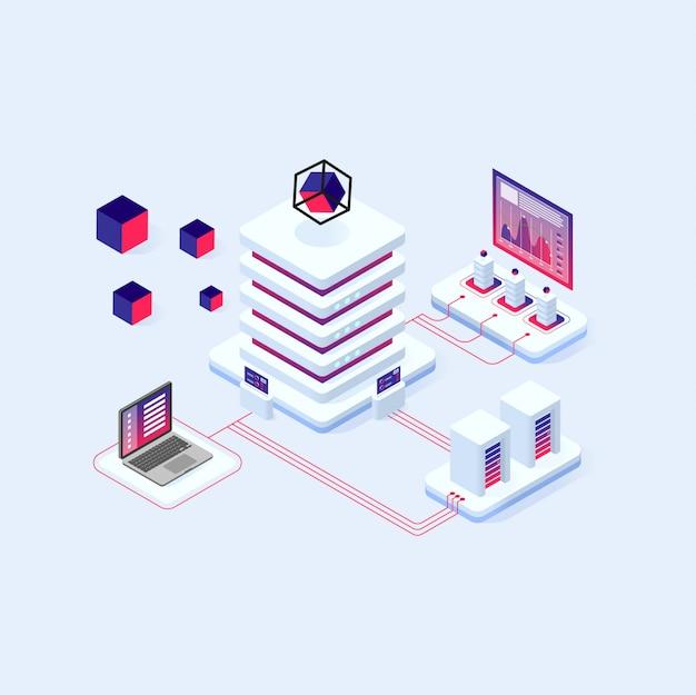 テクノロジーの暗号通貨とブロックチェーンのアイソメトリック合成、アナリストと暗号に取り組んでいるマネージャが起動します。
