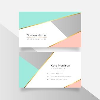 Абстрактная геометрическая элегантная золотая визитная карточка