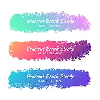 抽象的なグラデーションの水彩グランジブラシストロークセット