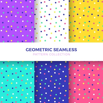 カラフルな点のシームレスなパターンのコレクション