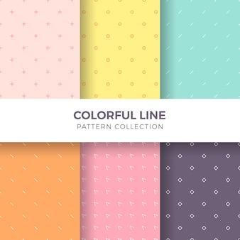 幾何学的なカラフルな線のシームレスパターンコレクション