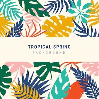 Разноцветные тропические листья весной фон