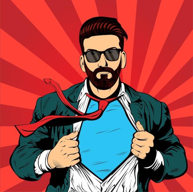 スーパーヒップスターのひげのビジネスマンポップアートレトロ