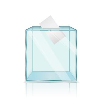 Реалистичная современная стеклянная прозрачная урна для голосования
