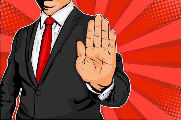 彼の手を差し伸べる実業家と停止命令。