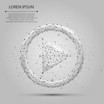 抽象的なマッシュラインとポイントグレーの再生ビデオアイコン