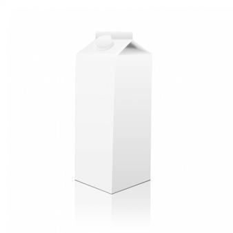 Белая картонная упаковка для молочных продуктов, соков или напитков
