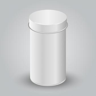 ホワイトブランクティンカンパッケージのモックアップ。紅茶、コーヒー、乾燥製品、ギフトボックス。