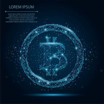 抽象的なマッシュラインとポイントビットコイン。ビジネスイラスト多角形の低ポリ通貨