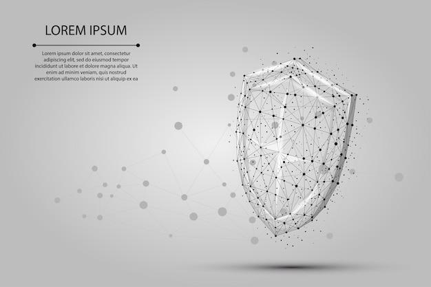 抽象的な多角形低ポリシールド。デジタルワイヤフレームを保護および保護する