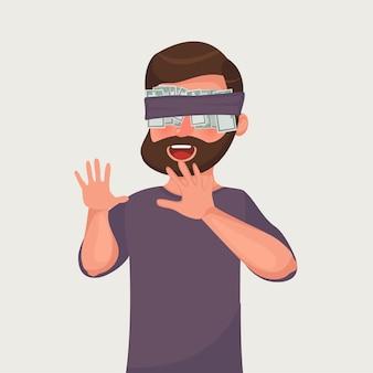 ドル紙幣でひげを生やした実業家は目にテープを貼った。