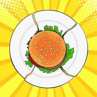Поп-арт бургер на сломанной тарелке, тяжелый фаст фуд