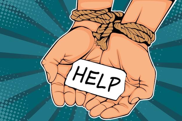 Поп-арт мужской руки связаны веревкой и описание помощь