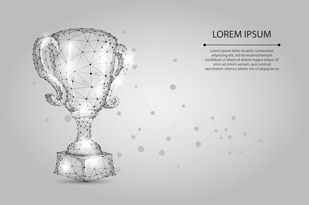 抽象的な多角形トロフィーカップ。低ポリワイヤフレームのベクトル図です。スポーツの勝利のためのチャンピオンズ賞