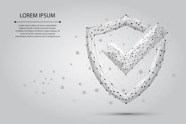 点、線、および形状で構成されるシールドのチェックマークの抽象的なイメージ。