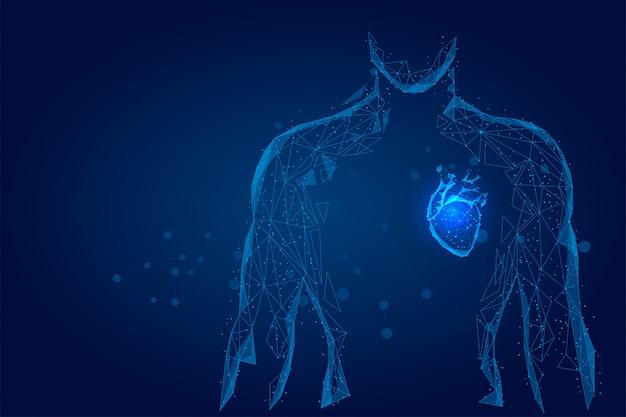 男のシルエットの健康な心は、ドット低ポリワイヤフレームを接続しました。オンライン医師医学低ポリ