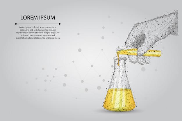 マッシュラインを抽象化し、医療研究所の分析をポイントします。多角形の科学者の手が試験管からフラスコに液体を注ぐ