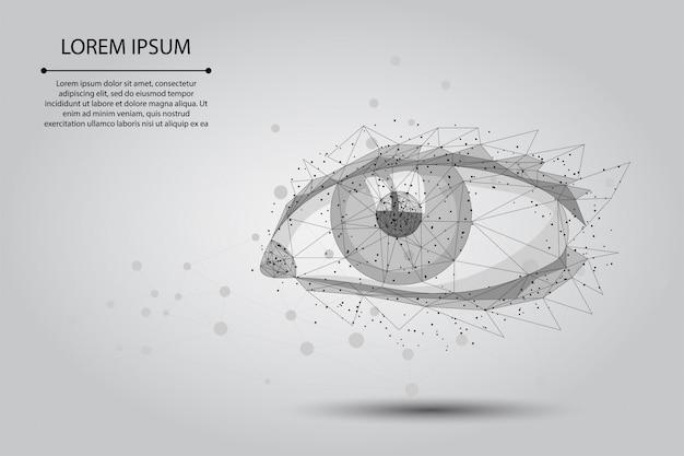 抽象的なマッシュラインとポイントレーザー視力矯正。低ポリ人間虹彩現代手術手術技術