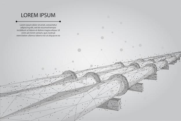抽象的なマッシュラインとポイントオイルパイプライン。石油燃料産業輸送ライン接続ドット青いベクトル図
