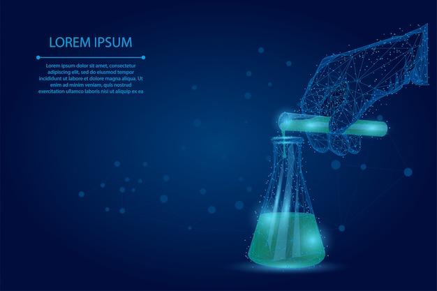 多角形の科学者の手は、試験管からフラスコに液体を注ぎます。抽象的なマッシュラインとポイントの医療検査分析