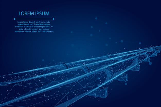 抽象的なマッシュラインとポイントオイルパイプライン。石油燃料産業の輸送ライン接続