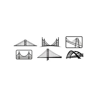 橋のロゴデザインエンブレムテンプレート。市のランドマークビルアイコンベクトルイラスト