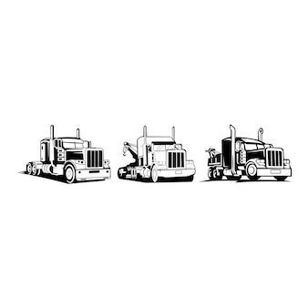 トラックトレーラーロゴ輸送-インスピレーションベクトルバン