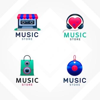 グラデーションスタイルの企業向け音楽ストアロゴのコレクション