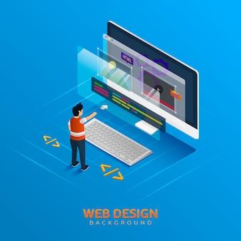 アイソメトリックスタイルのウェブデザインの背景
