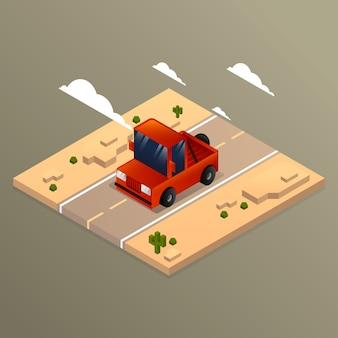 アイソメートスタイルの砂漠の車の背景